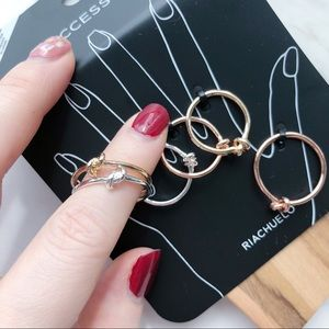 Jewelry - Chic Knot Midi Stacking Ring Set (6 rings)